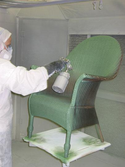 lloyd loom stoelen repareren en spuiten