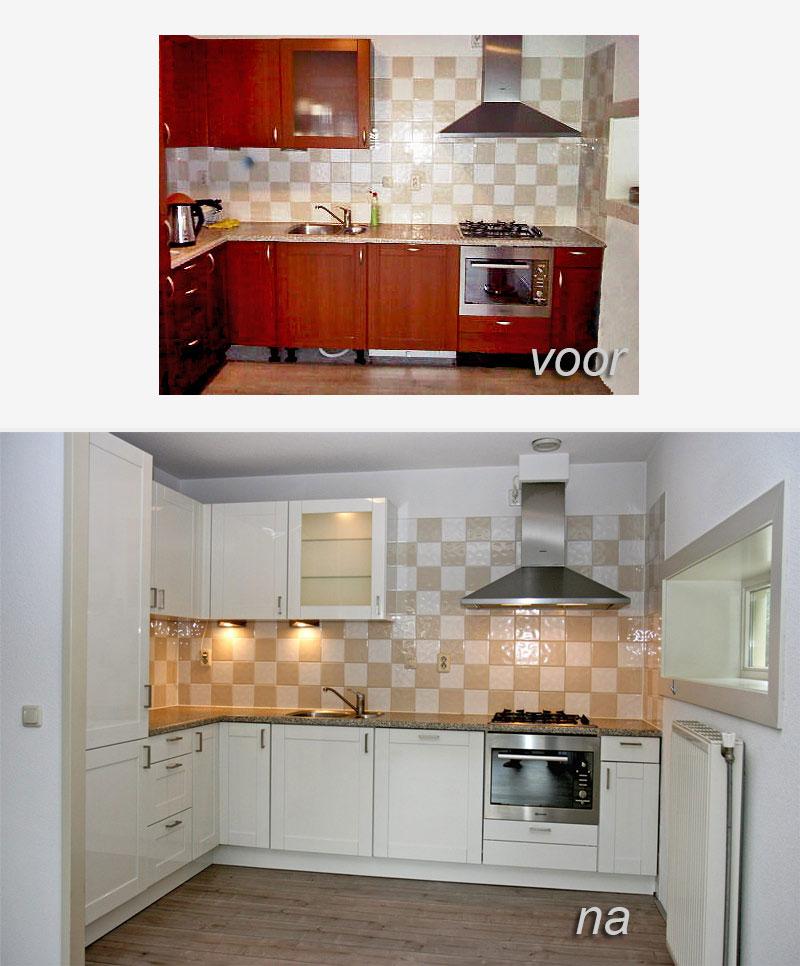 keuken hoogglans wit spuiten voor-na