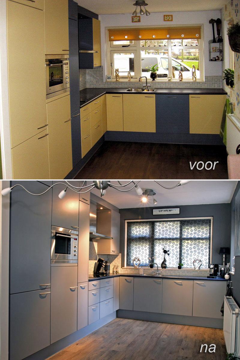 keuken voor en na het spuiten
