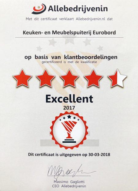certificaat eurobord keukenspuiterij 2017