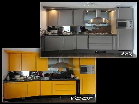 keuken voor en na over spuiten