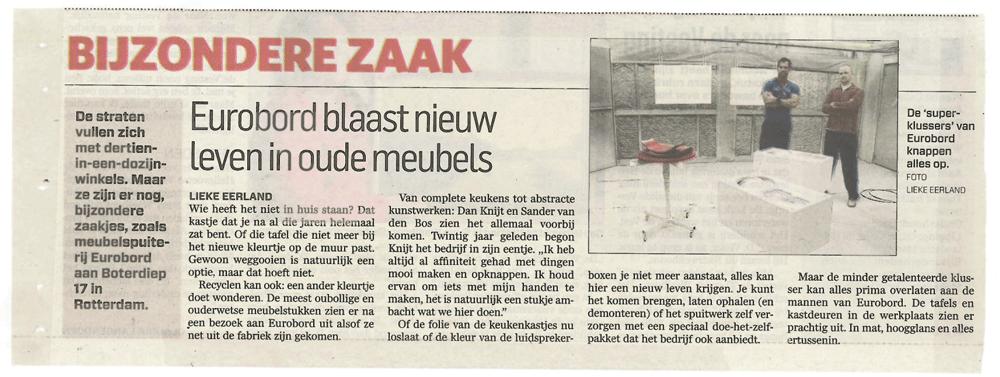 krantenartikel Eurobord Meubelspuiterij en keukenspuiterij