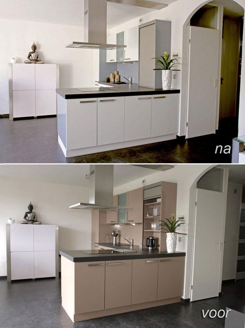 spuiten keukenkastjes kookeiland
